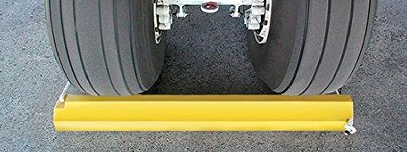 Our airplane chocks are extremely safe in bright yellow and with a secure rope lock system