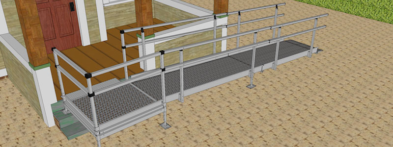 Double height handrails come with our modular ramps are standard