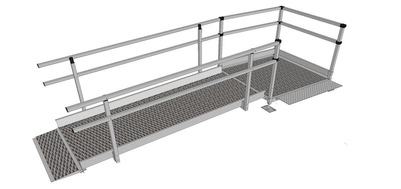 1500mm Wide Modular Ramp Kits Double Handrails