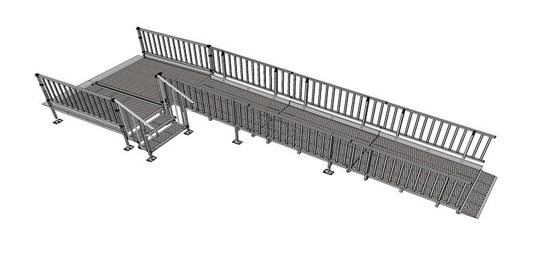 1500mm wide Modular Ramp Kits Balustrade Handrails