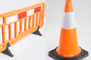 Barrier Fences and Traffic Cones
