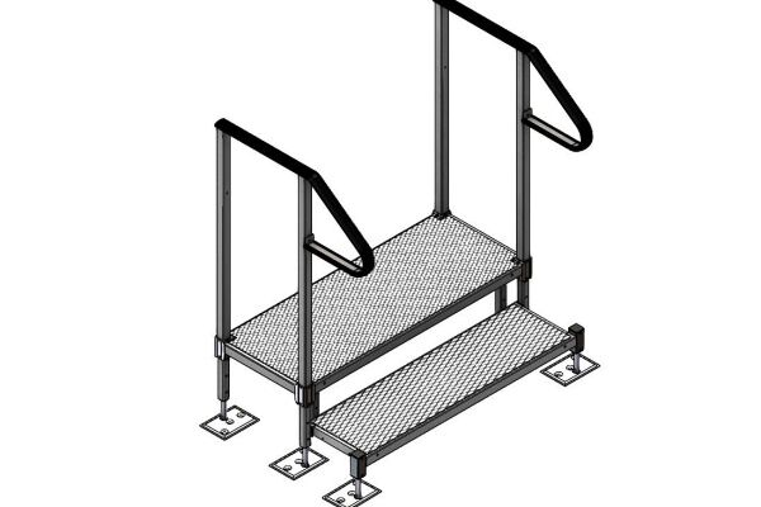 Adjustable step kit with handrails